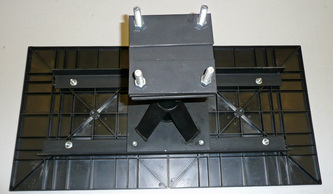 ABS PLASTIC PAD WITH MECHANICALLY ATTACHED STEEL FOUNDATION SUPPORT PIER